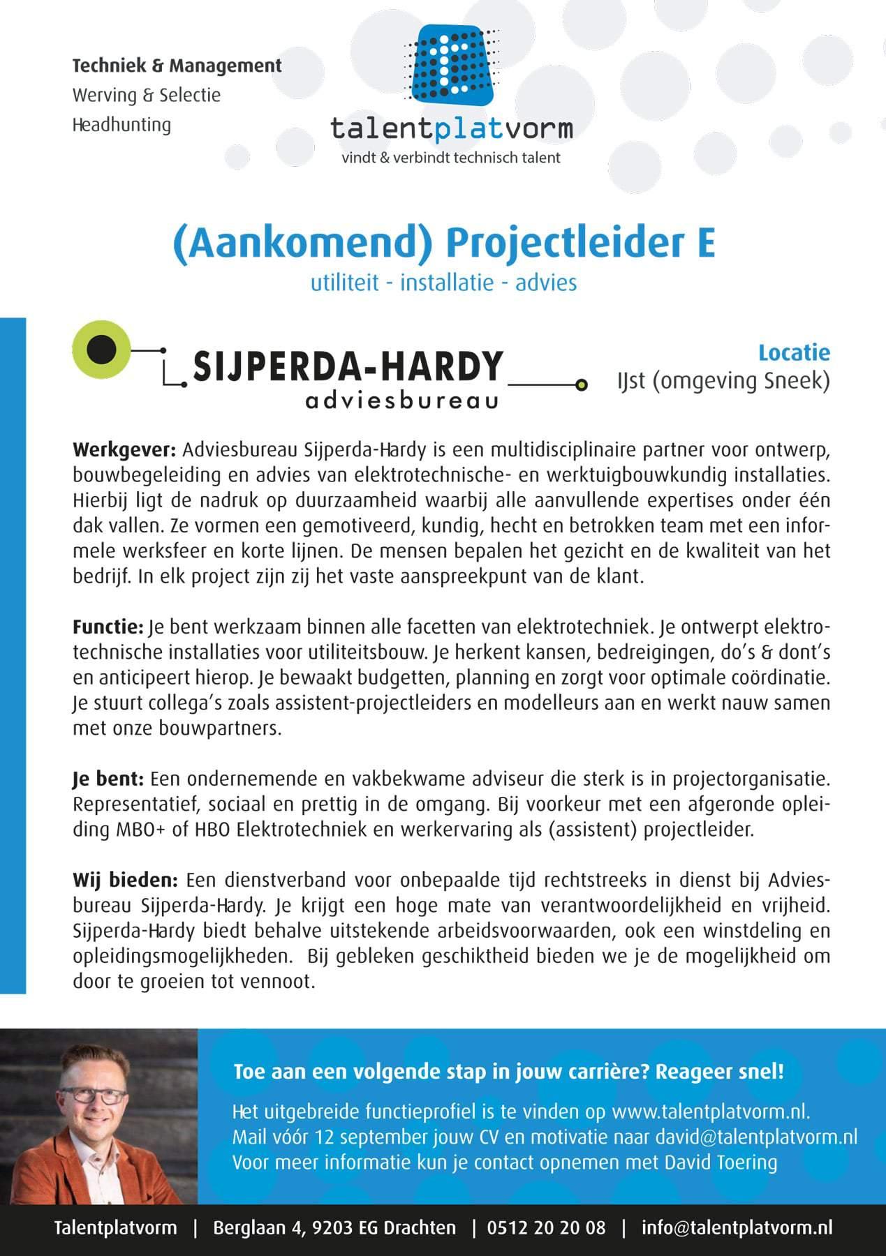 Projectleider Elektrotechniek Sijperda-Hardy